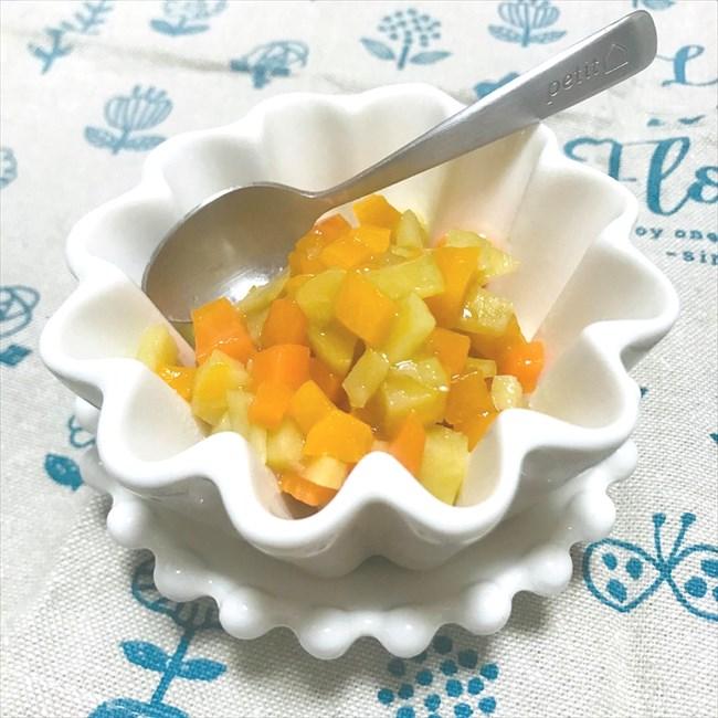 【離乳食後期】かぼちゃとにんじん、さつまいものフルーツ煮