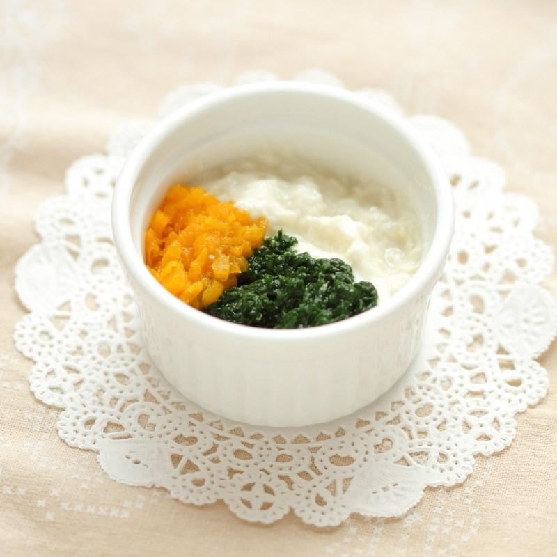 【離乳食中期】ほうれん草とかぼちゃの白和え