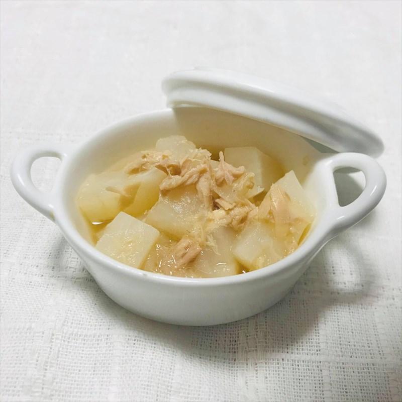【離乳食後期】かぶとツナのレンジスープ