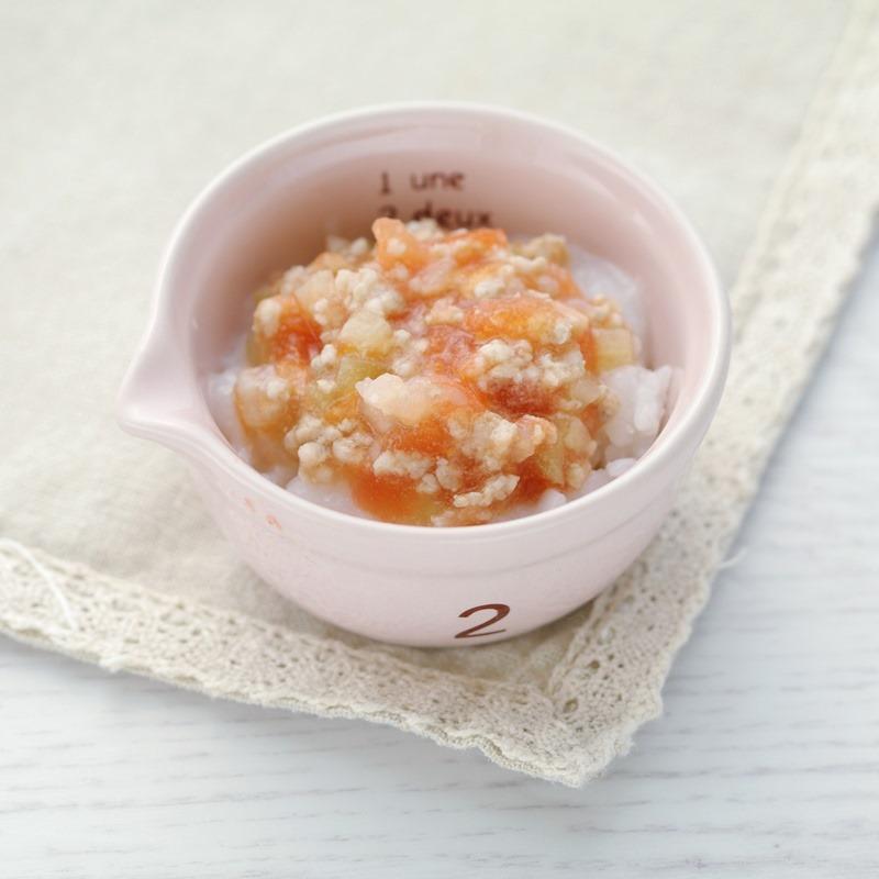 【離乳食後期】トマトひき肉のあんかけ丼