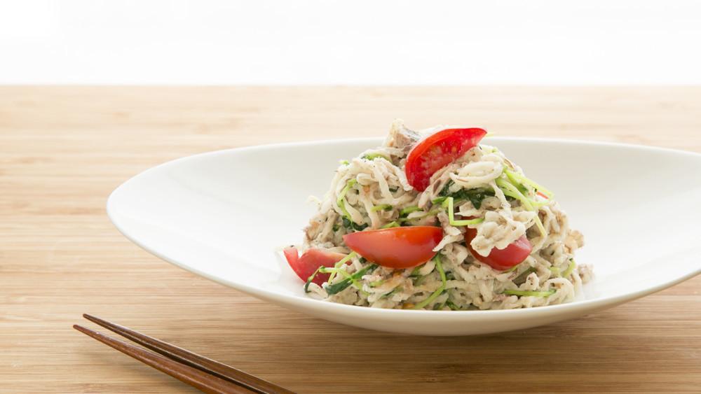 鯖と切り干し大根の洋風サラダ