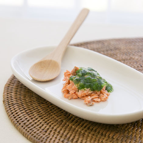 【離乳食中期】鮭のほうれん草&あんかけ
