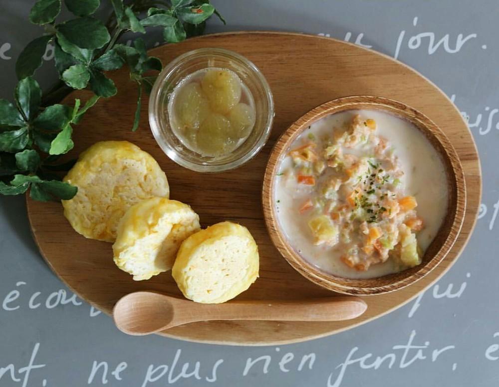 【離乳食後期】野菜たっぷり鮭ミルクスープ