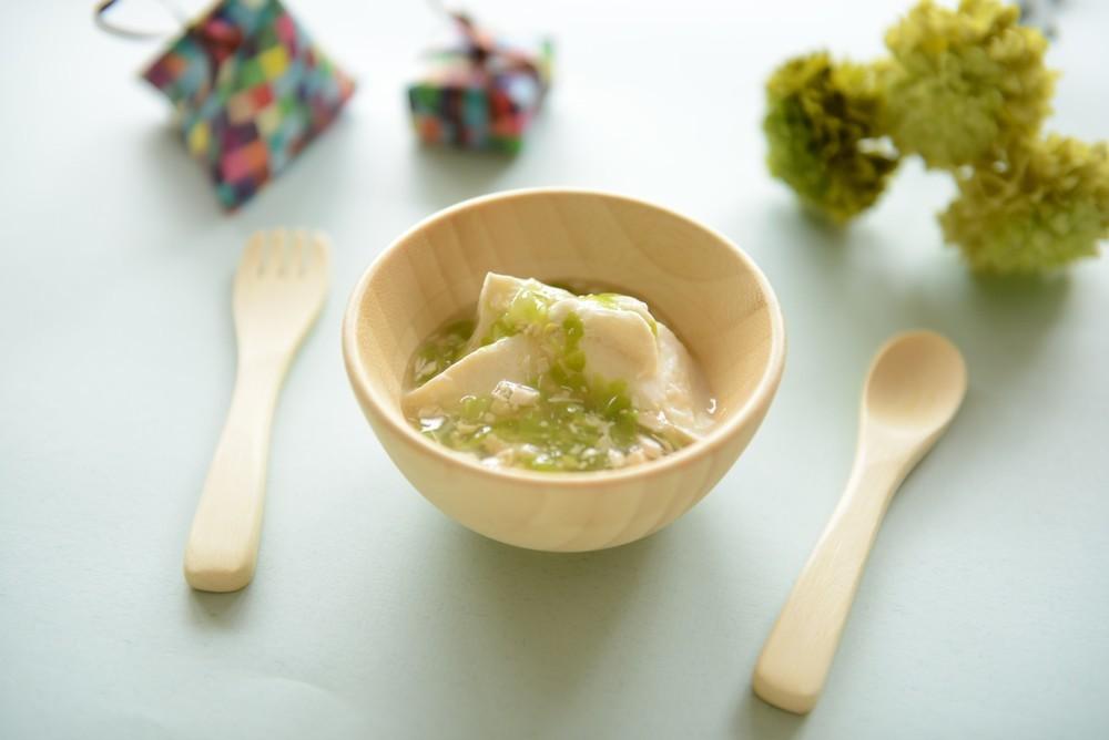 【離乳食中期】キャベツとささみ豆腐餡かけ