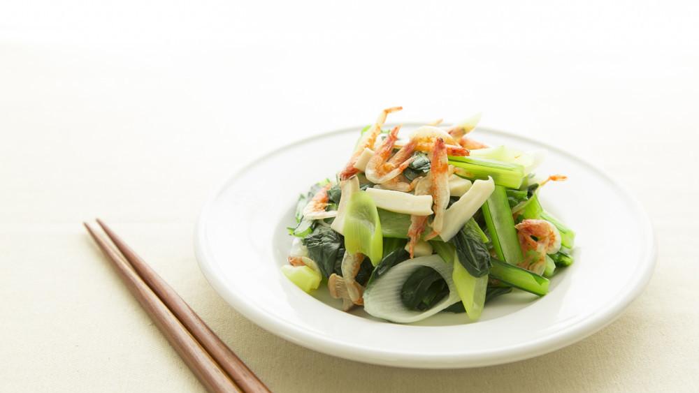 小松菜と桜えびの蒸し炒め